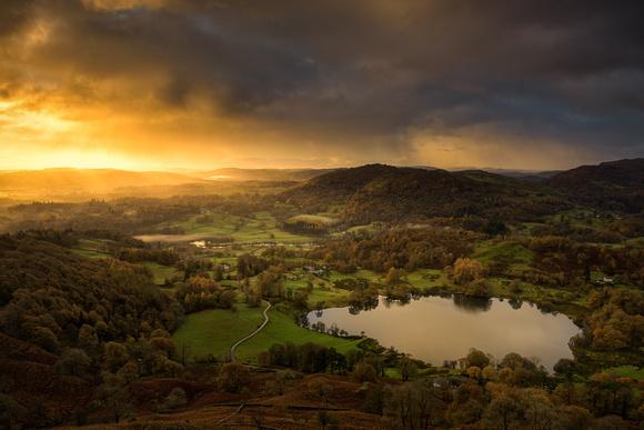 Loughrigg Tarn near Ambleside, Lake District, Cumbria, England.
