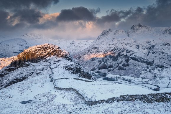 Snowy Langdale Pikes, Langdale, Lake District, Cumbria, England.