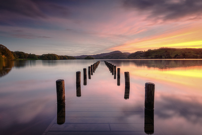 Parkamoor Jetty, Coniston Water, Lake District, Cumbria, England.