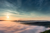 Inversion in Hope Valley at sunrise from Mam Tor, Peak District, Derbyshire, England
