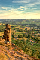 Pinnacle stone on Curbar Edge at sunset, Peak District, Derbyshire, England